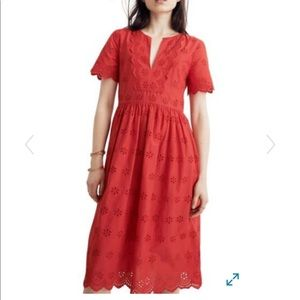 NWT Madewell Scallop Eyelet Dress